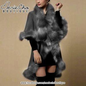NEW gray faux fur cape